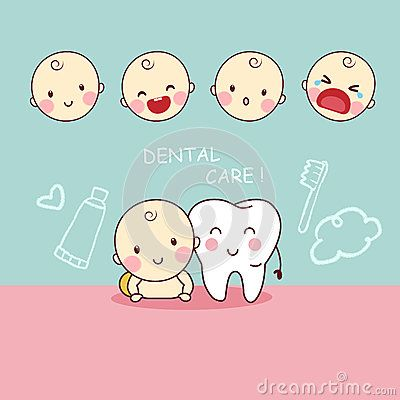 Cute cartoon tooth with baby