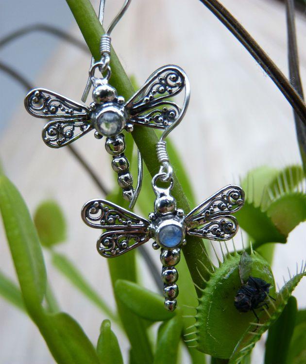 Sterling Silver moonstone Earrings   Dragonflies and moonstone
