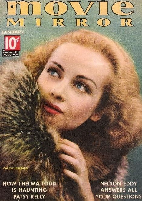 "Carole Lombard on the cover of ""Movie Mirror"" magazine, USA, January 1937."