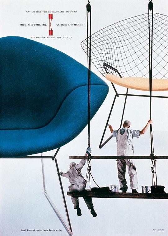 #Bertoia Diamond chair advertisement by Herbert Matter for Knoll