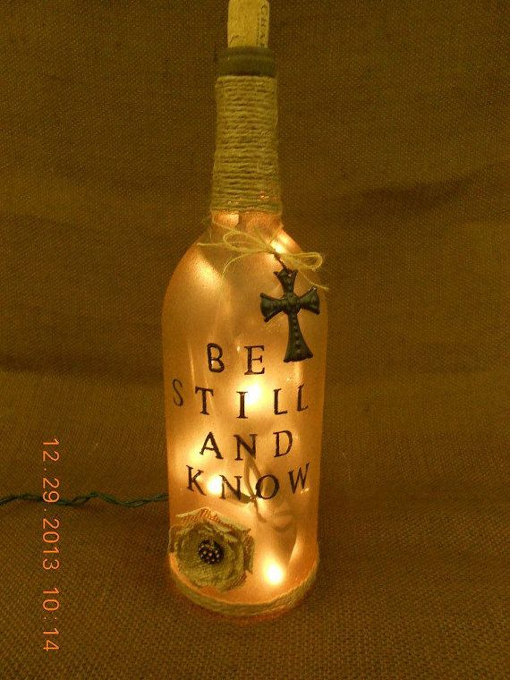 Christian Wine Bottle Light Be Still and Know by OnceAPallet, $25.00