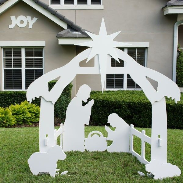 Outdoor Christmas Joy Sign pictured with one of our Outdoor Nativity Sets