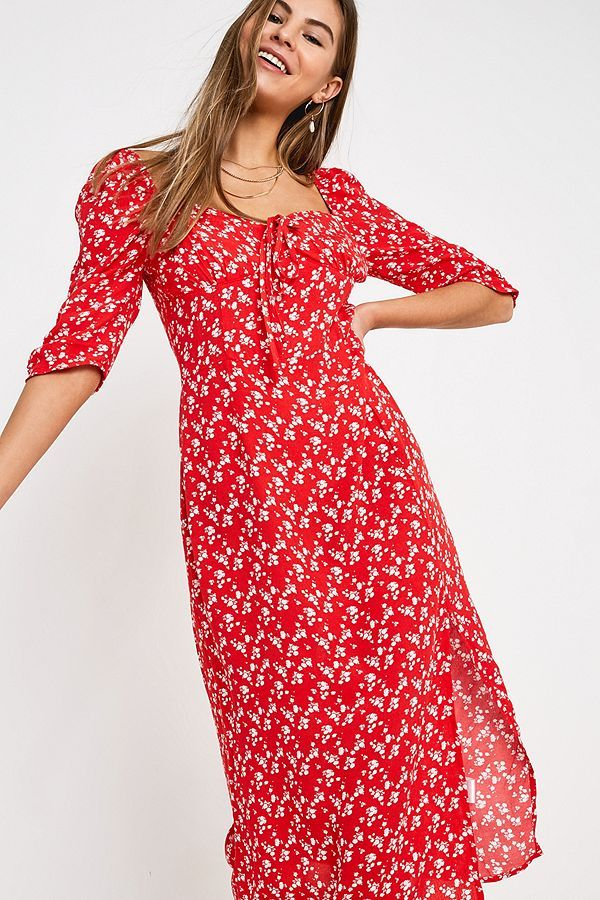 f7aa4ec9553 Slide View  4  NARRATED Red Ditsy Floral Midi Dress