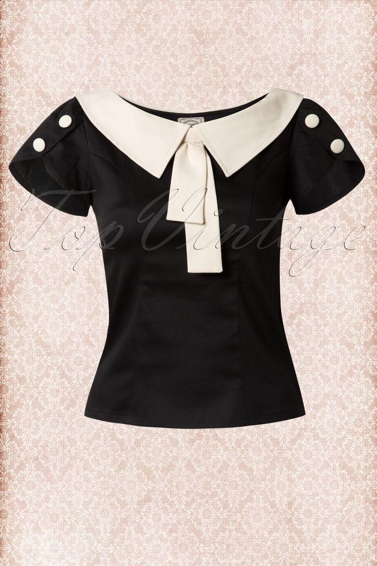 Banned - 40s Frou Frou Top in Black and Cream