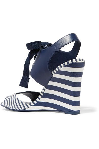 Tory Burch - Maritime Lace-up Striped Leather Wedge Sandals - Navy - US