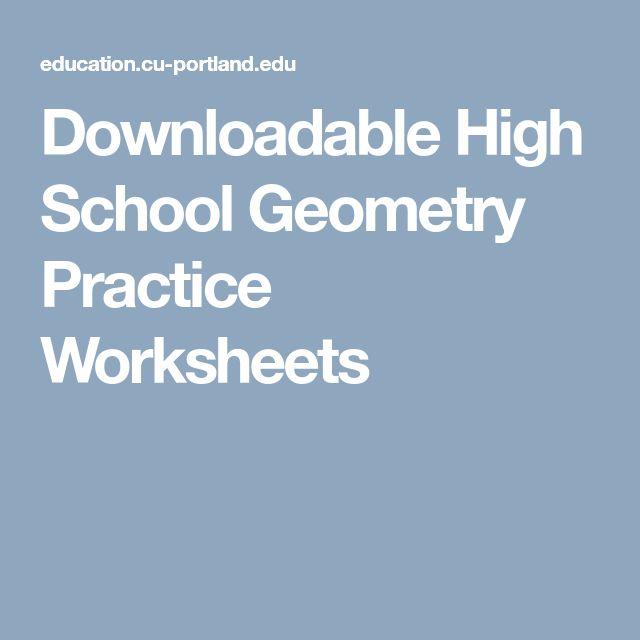 Downloadable High School Geometry Practice Worksheets