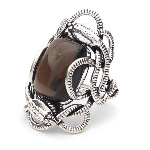 Genuine Smoky Quartz  Cabochon Ring | Wrapped in Tantric Twining of paired Snakes | 925 Sterling Silver | Large sizes | Crystal Heart since 1986