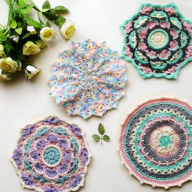 Pastel mandalas! 🌸💕💕 Patterns by @mobiusgirl and Stephanie White