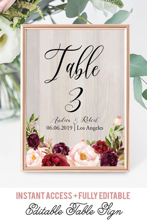 burgundy flowers table numbers template bohemian table numbers