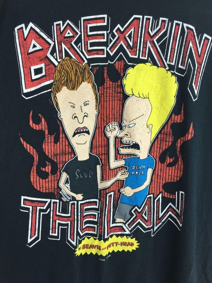 Vintage Beavis and Butthead T Shirt Mens Size XL MTV Breakin The Law | eBay