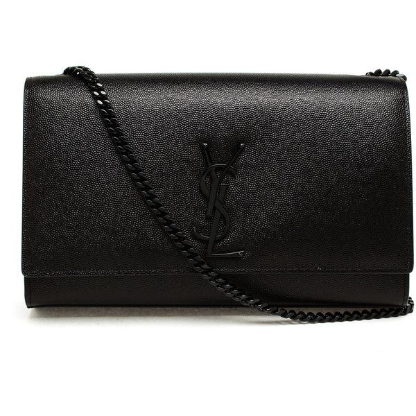 SAINT LAURENT Leather Monogram Shoulder Bag found on Polyvore featuring bags, handbags, shoulder bags, bolsas, clutches, purses, ysl, genuine leather handbags, cocktail purse and yves saint laurent handbags