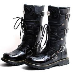 Men Black Knee High Cyber Goth Punk Fashion Cowboy Riding Biker Boots SKU-1280088