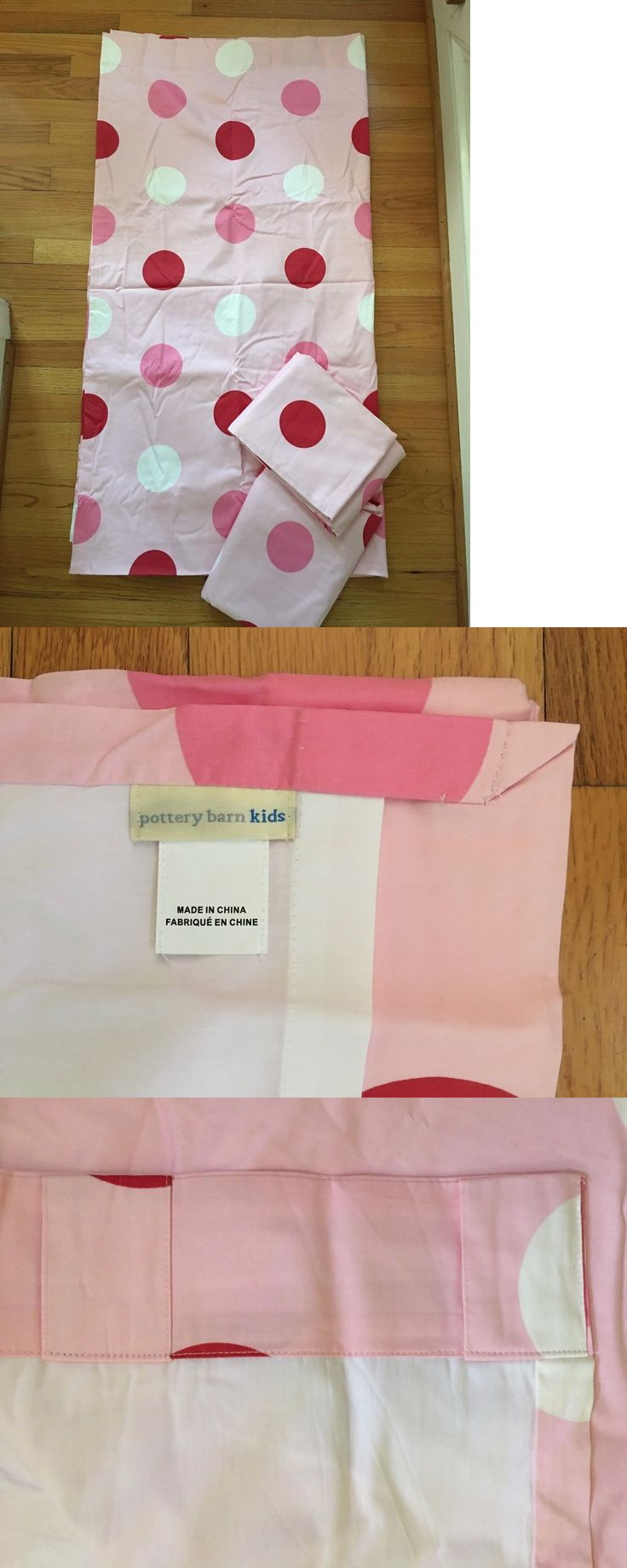Window Treatments 116488: Lot Set Of 3 - New Pottery Barn Kids Allie Pink Polka Dots Lined Curtain Panels -> BUY IT NOW ONLY: $69.99 on eBay!
