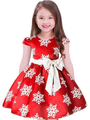 d9870b324d Girls Christmas Snowflake Printed Flower Fluffy Princess Dress for ...