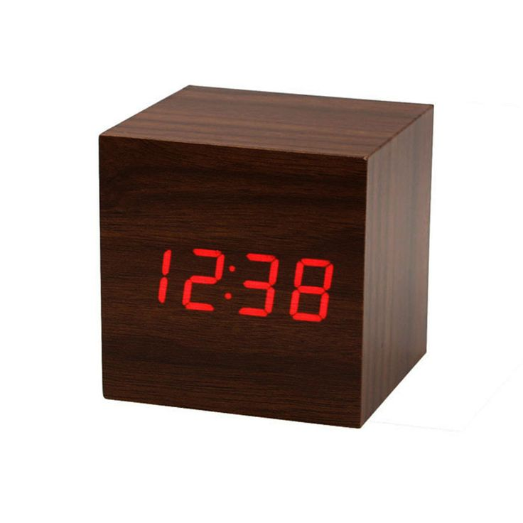 My House Mini Cube Style Digital Red LED Wooden Wood Desk Alarm Brown Clock Voice Control 2017 New Hot Sell 17Tue22