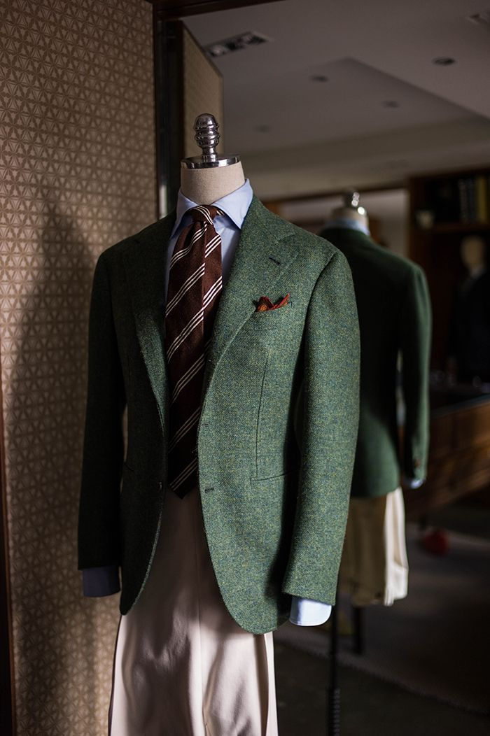 Green tweed sports coat & Ivory cotton trousers for winter
