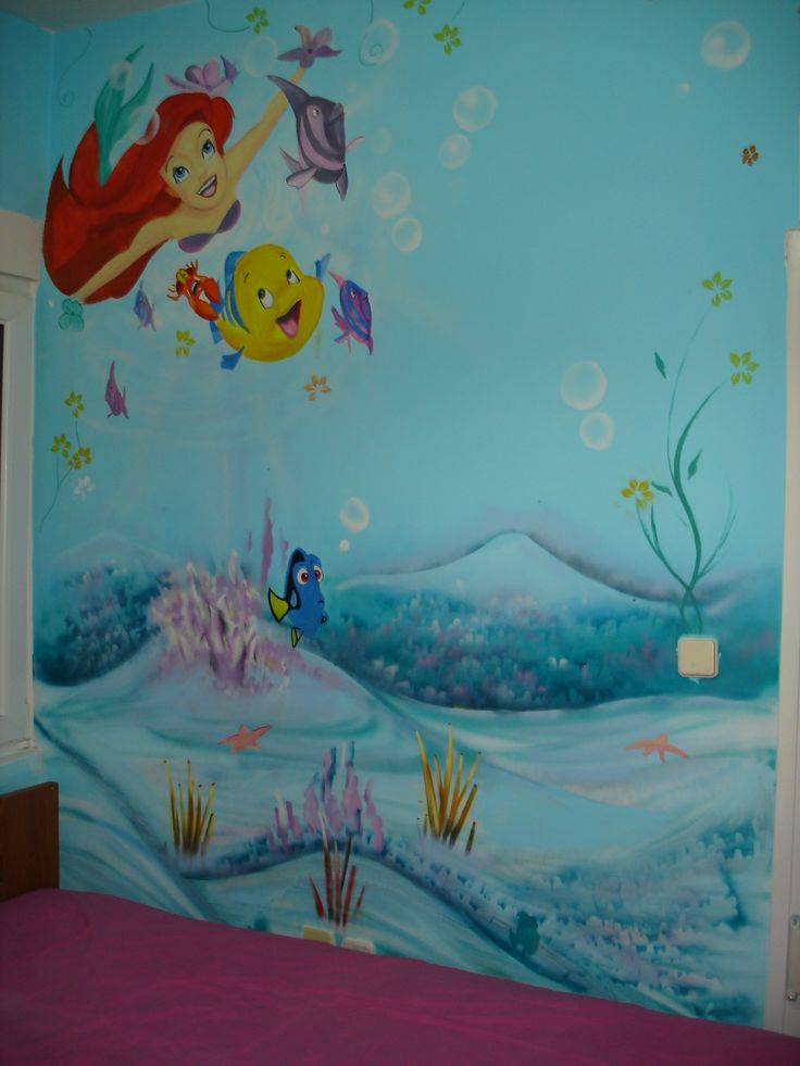 Ariel and friends/ mural art for kids room/ Spay paint, acrylic paint