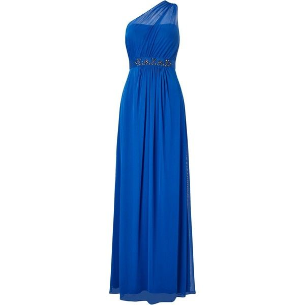Adrianna Papell One Shoulder Shirred Tulle Gown, Royal Blue ($225) ❤ liked on Polyvore featuring dresses, gowns, blue maxi dress, evening maxi dresses, empire waist evening gown, royal blue evening dress and royal blue ball gown