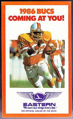 1986 TAMPA BAY BUCCANEERS EASTERN AIRLINE FOOTBALL POCKET SCHEDULE FREE SHIPPING
