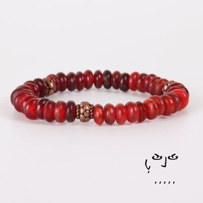 SHOP NOW FOR 30% OFF OUR ENTIRE COLLECTION. USE CODE VUJUPN30. ~ #VujuWear  This would be a great VALENTINES PRESENT! Wear this alone or stack it with your other bracelets.  When stacking your bracelets don't be afraid to add a punch of color.   VujuWear Red/Copper Horn Unisex's Beaded Stretch Bracelet, $14.99  #BeadedBracelet
