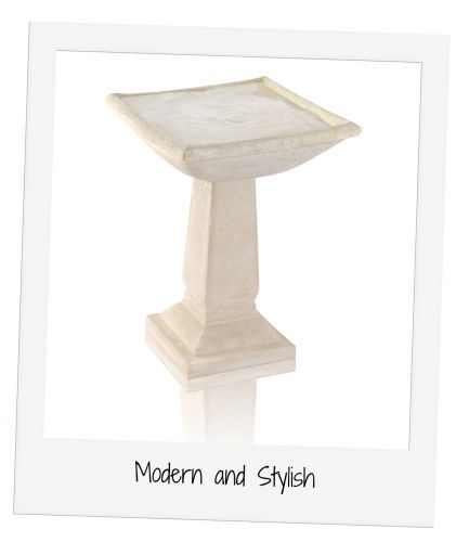 This delightful bird bath will attract beautiful wildlife to your garden in no time. The gorgeous design features contemporary simplistic shapes cast in smooth, beautifully finished stone to add a modern touch to your garden.          Features  Hand finished - high q