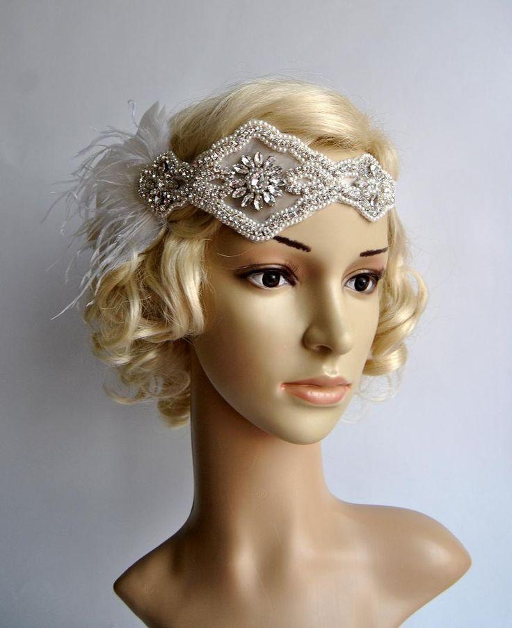 Strass parels veer flapper Gatsby hoofdband bruiloft