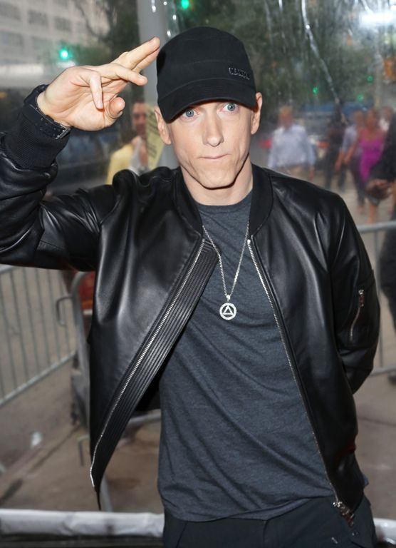 "Eminem arriving at the premiere of ""Southpaw"", July 20, 2015 in New York"