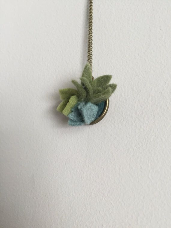 petite wool felt succulent pendant necklace by shopgoldenafternoon