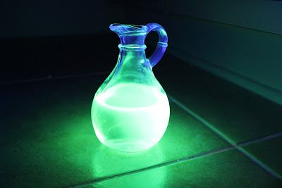 Glow water materials:  Baking Soda,  Vinegar,  Yellow Highlighter,  Water,  Black light. Add glow water to your vinegar (It can be diluted a lot) and pour over baking soda in a black lit room.