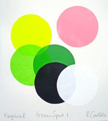 GREEN SPOT 1: Screens Prints, Castles Colour, Castles Green, Castles Screenprint, Green Spots, Colors Prints, Rachel Castles, Castles Artworks, Colorful Screens
