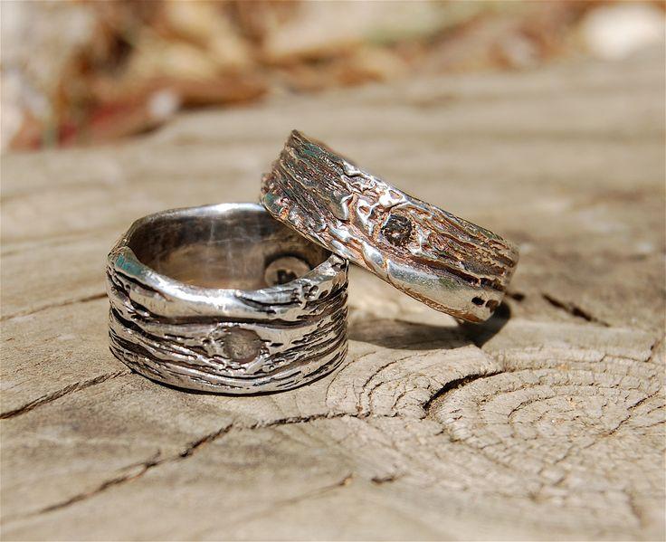 New Wedding Bands Tree Bark Organic Handmade Jewelry by codysanantonio