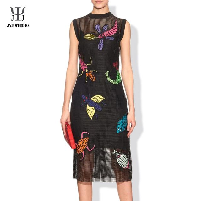 Luxury Embroidery Insect Animal Dress Cartoon O-neck Sleeveless Black One-piece Dress With Sling Cute Badge Women Maxi Dress