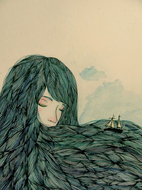 When she slept, the sea rested. Valentina Contreras // Illustration Design Art