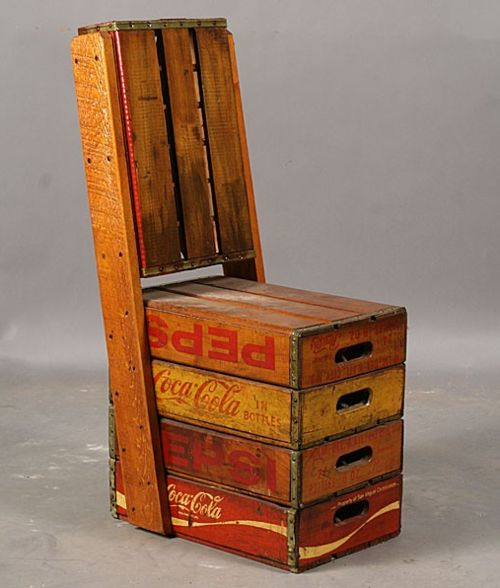Crate chair: Vintage Chairs, Idea, Vintage Bottle, Coca Cola, Garden, Seats, Crates Chairs, Old Crates, Wooden Crates