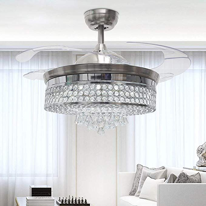 Rs Lighting Low Profile Ceiling Fan Chandelier 32w Has 3 Light Color Crystal Invisible Ceiling Fan Chandelier Ceiling Fan With Light Indoor Outdoor Living Room
