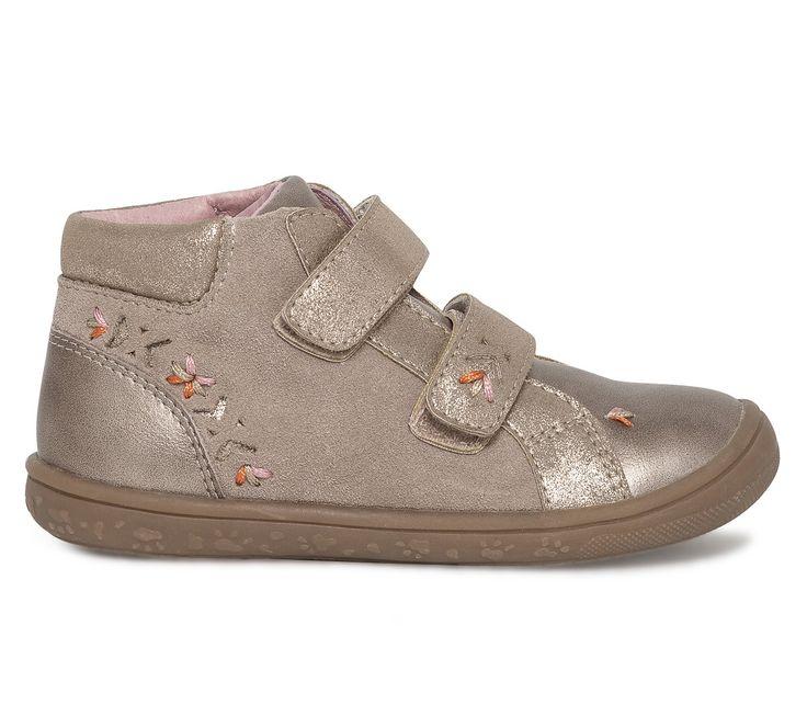 Basket montante scratch beige - Baskets - Chaussures fille - Chaussures enfant