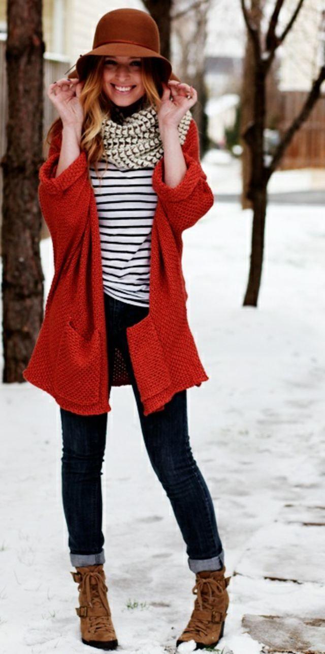 Mode d'hiver- gilet rouge