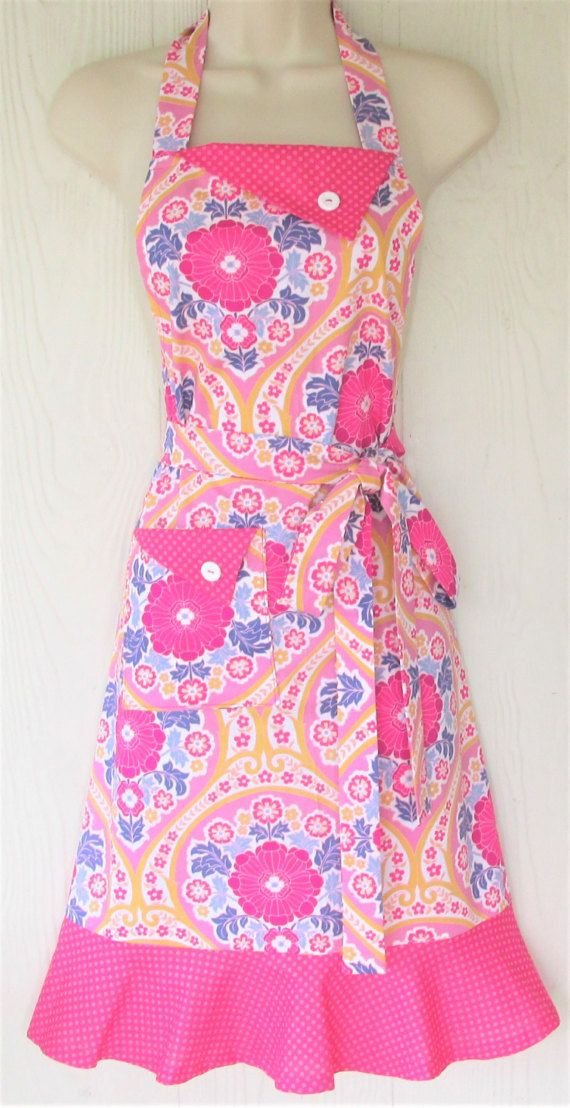 Pink and Blue Floral Apron Raspberry Polka Dots by KitschNStyle