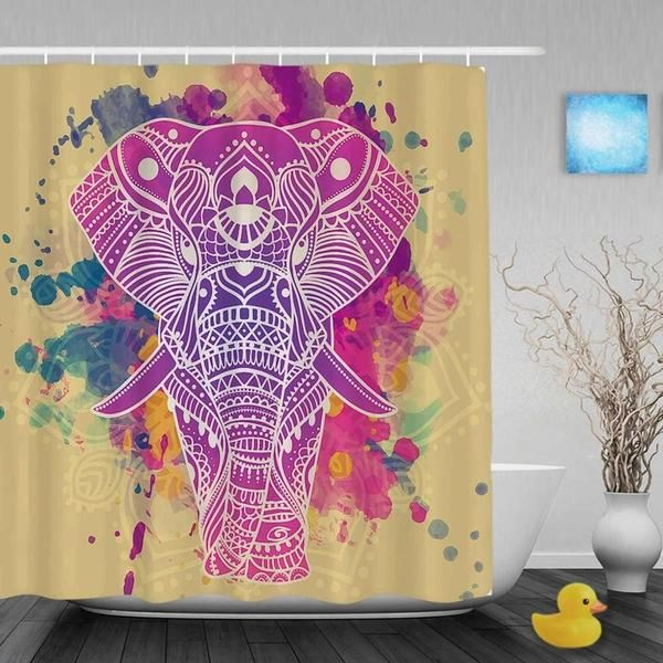 Cute Tiger And Flowers Decor Shower Cutains Animal 7& Nature Theme Bathroom Curtains Polyester Waterproof Fabric With Hooks