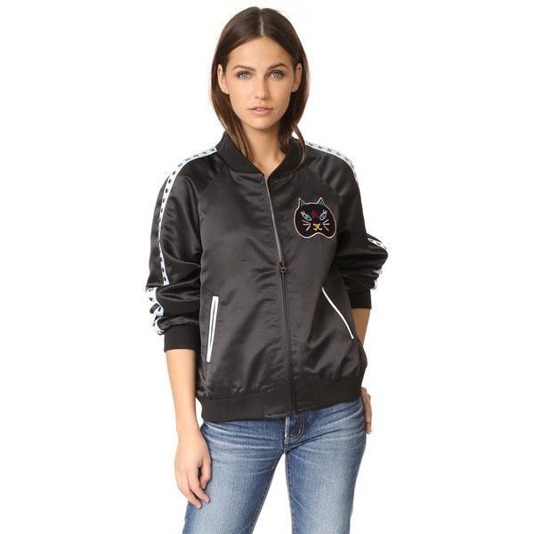 Jocelyn Dolce Bomber Jacket (509 AUD) ❤ liked on Polyvore featuring outerwear, jackets, black, multi-color leather jackets, cat bomber jacket, long sleeve jacket, lined bomber jacket and fleece-lined jackets