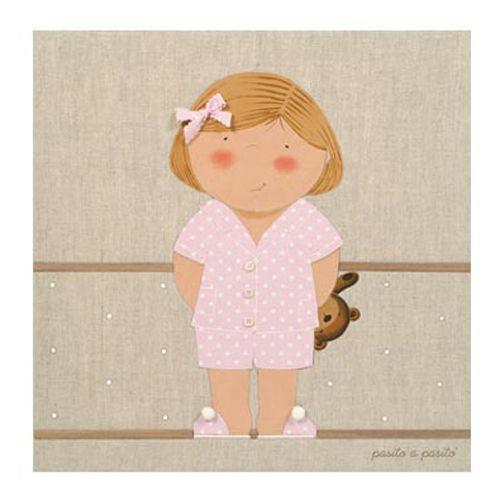 CUADRO NIÑA PIJAMA ROSA. Cuadro tipo lienzo con imagen de niña en pijama Rosa. El Lienzo en Lino niña es una propuesta ideal para decorar la habitación de los más pequeños consiguiendo un aire romántico y un toque de ternura.