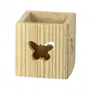 Butterfly Tea Light Holder – Parlane International : A natural coloured wooden tea light holder with laser cut butterfly pattern and removable glass insert. This gorgeous product could even be used as a planter or a container for a floral display. 20cm x 23cm. Buy Online : http://www.thegardenrose.co.uk/buy-online/butterfly-tea-light-holder-by-parlane-international/