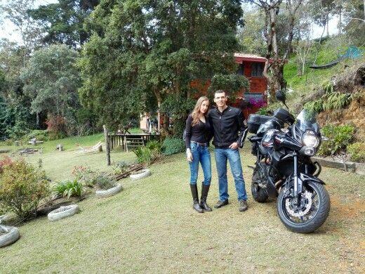 Disfrutando de viaje en moto.