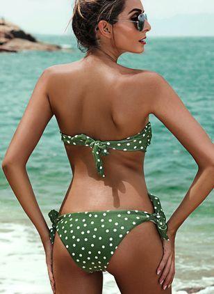 Plus Size Spandex Bandeau Dot Bikinis Plus Size Swimwear Swimwear - Green / XL 15