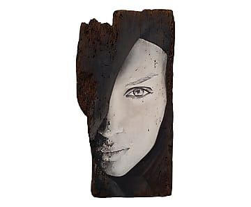 Tavola decor sec. XVII Profilo di Donna p.unico - 55x28 cm