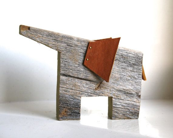 Elephant Home Decor Reclaimed Wooden Animal With Leather Ears And Tail For Nursery Home Or