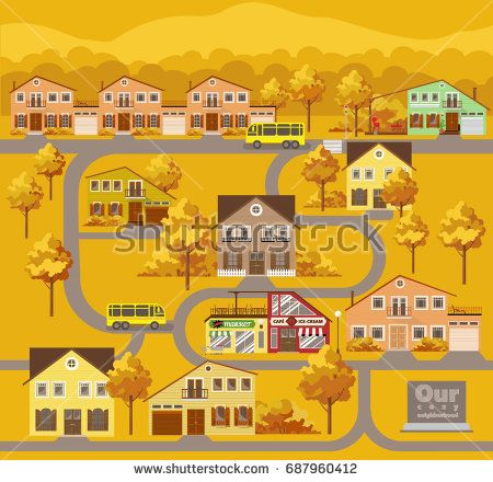 Small town location. Autamn landscape. Seamless vector pattern