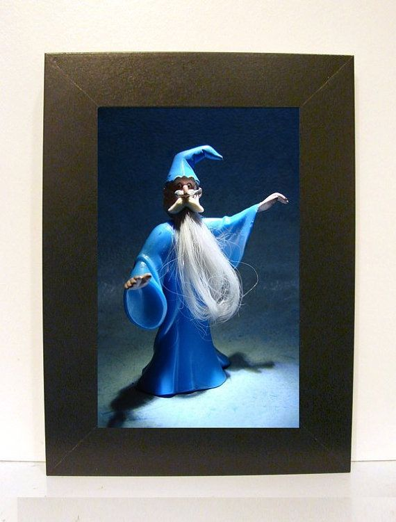 Framed Sword in the Stone Merlin Toy Photograph 5 x 7 by 247Magnum (Art & Collectibles, Photography, Color, toy, photography, frame, gift, artwork, vintage, retro, blue, Merlin, Sword in the Stone, Disney, wizard, magic)