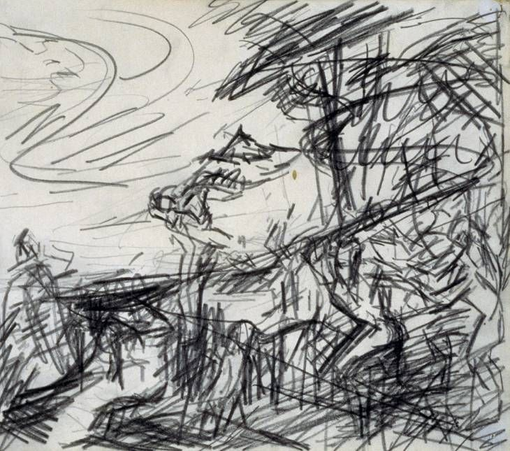 Frank Auerbach 'Sketch from Titian's 'Bacchus and Ariadne'', 1970–71 © Frank Auerbach