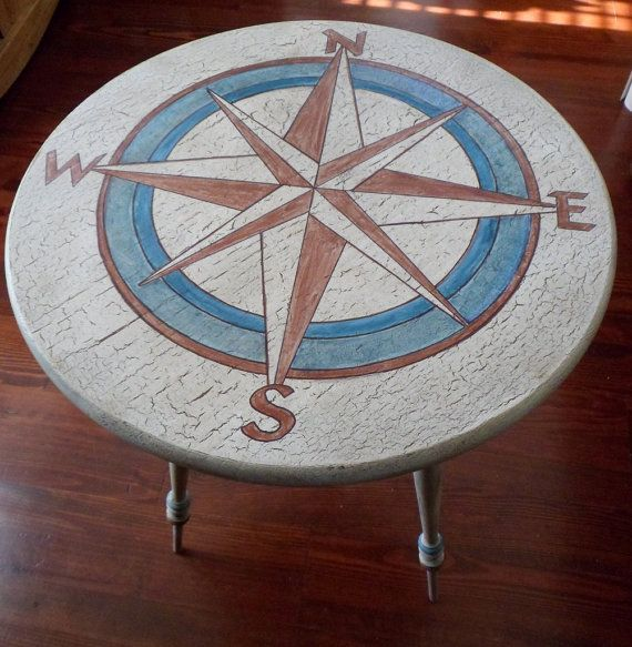 For the sailor! OOAK Side Table Compass Nautical Hand Painted and by savardstudios, $195.00